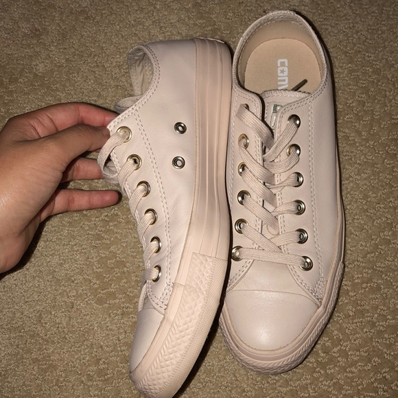 new list buy sale detailing Nude/ pink/ leather converse
